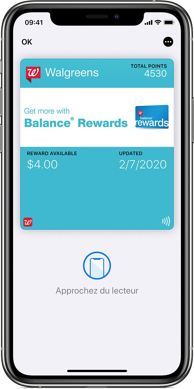 Portefeuille Cartes de fidélité dans l'app