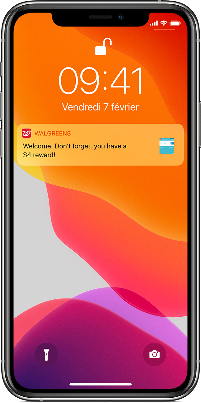 Notification parents aux cartes, billets et coupons de l'app Wallet sur l'écran de verrouillage