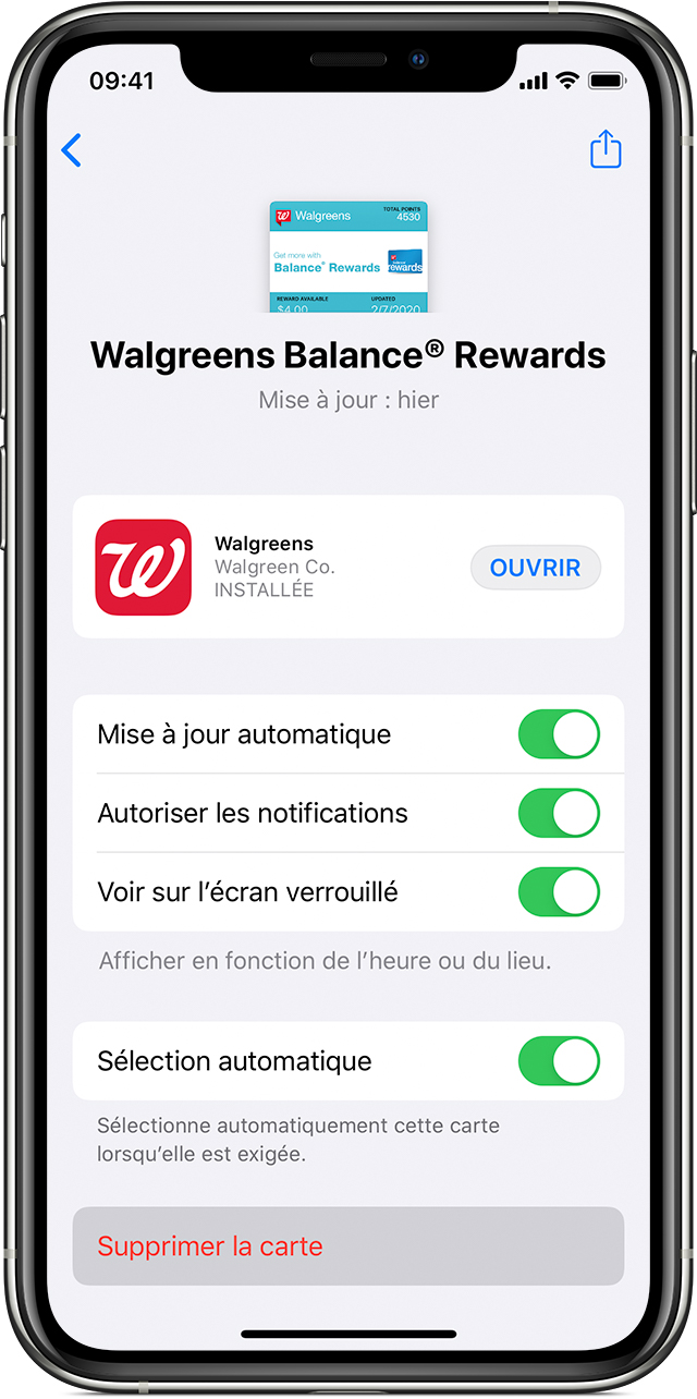 Écran de suppression des cartes, billets ou coupons de l'app Wallet