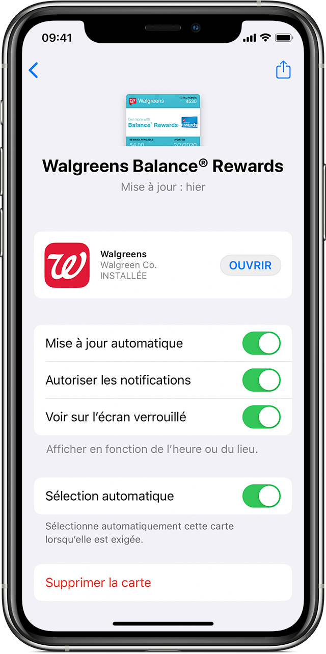 Écran de modification des paramètres relatifs à une carte, un billet ou un coupon dans l'app Wallet