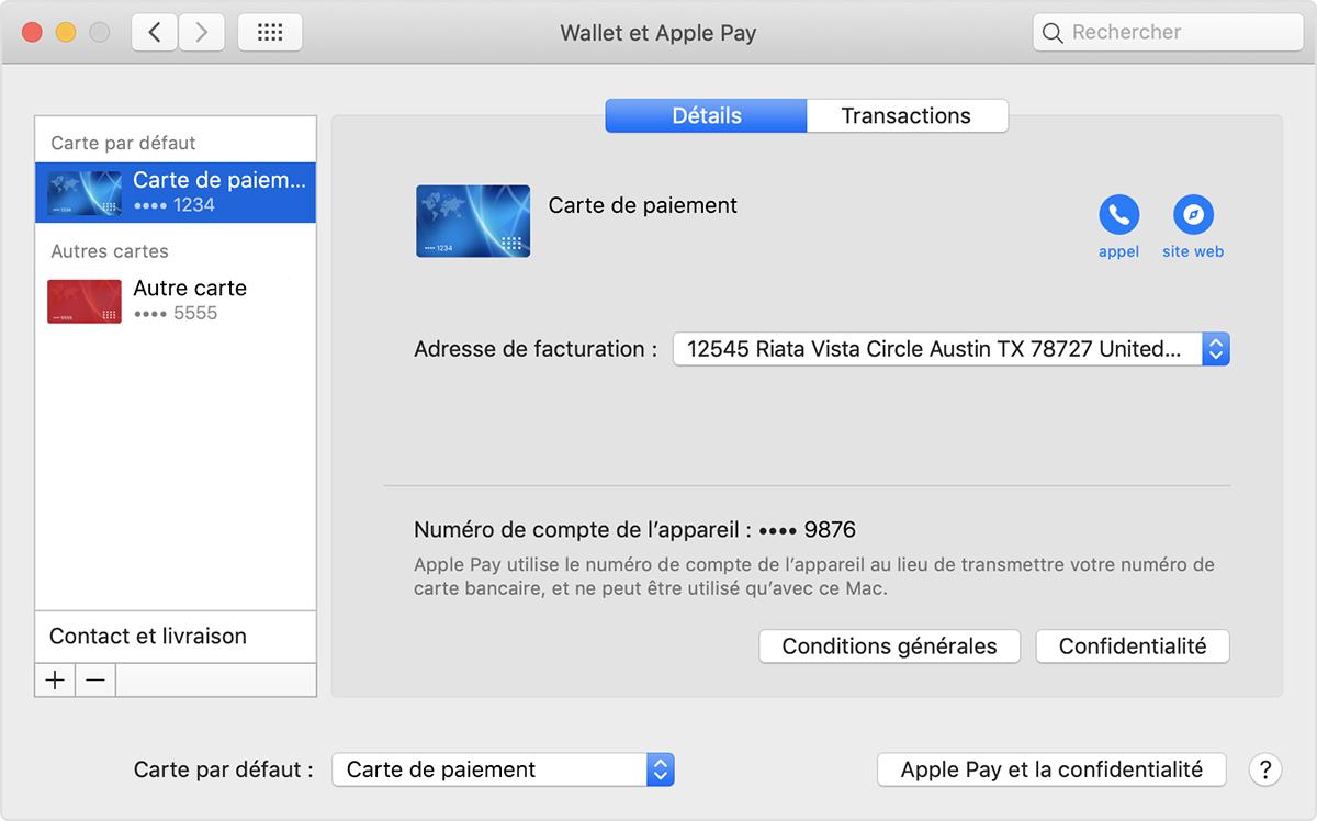 Carte ApplePay par défaut sur Mac
