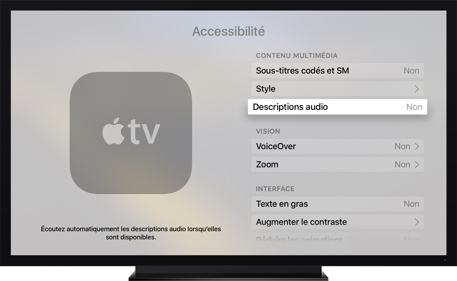 tvOS affichant Descriptions audio en surbrillance dans le menu Accessibilité.