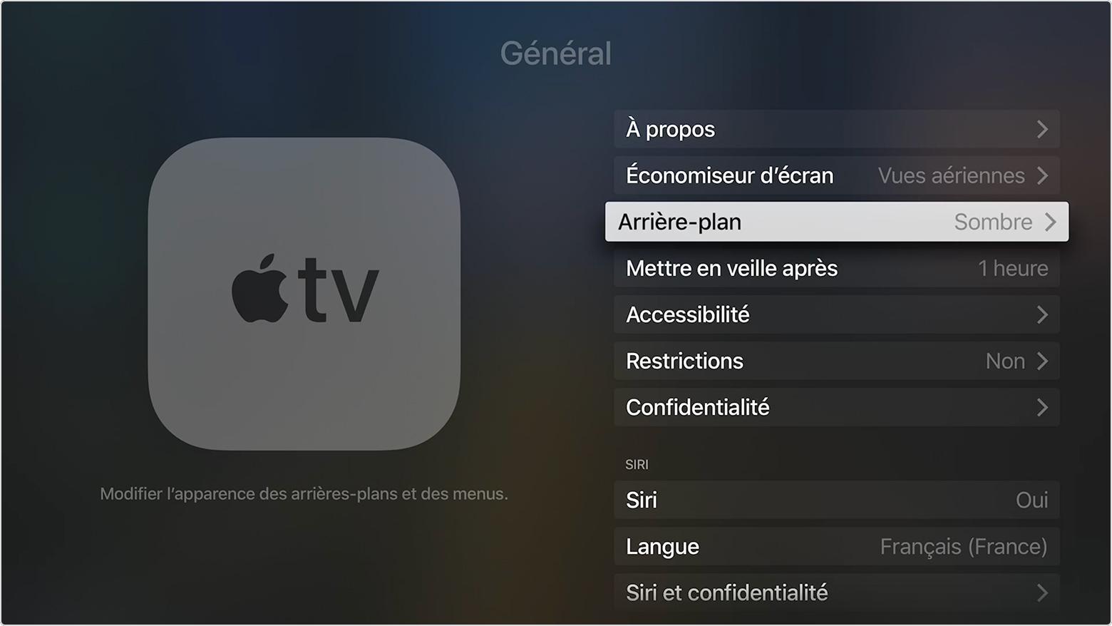 choisir un arri re plan clair ou fonc pour votre apple tv 4k ou votre apple tv 4e g n ration. Black Bedroom Furniture Sets. Home Design Ideas