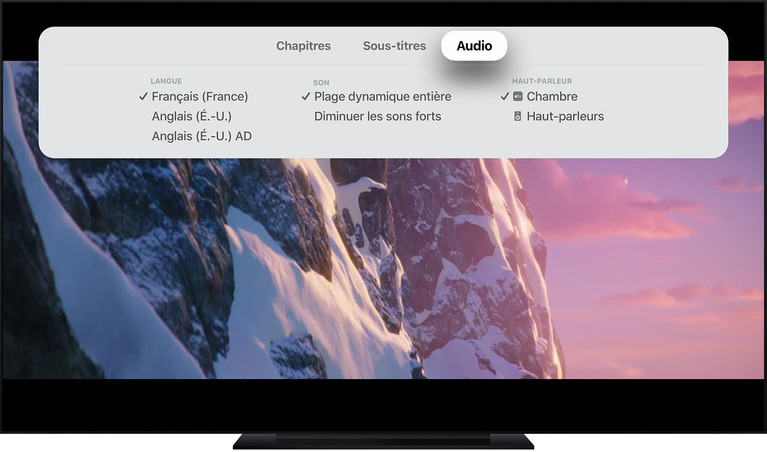 Modifier les sous-titres ou la langue de l'app Apple TV et