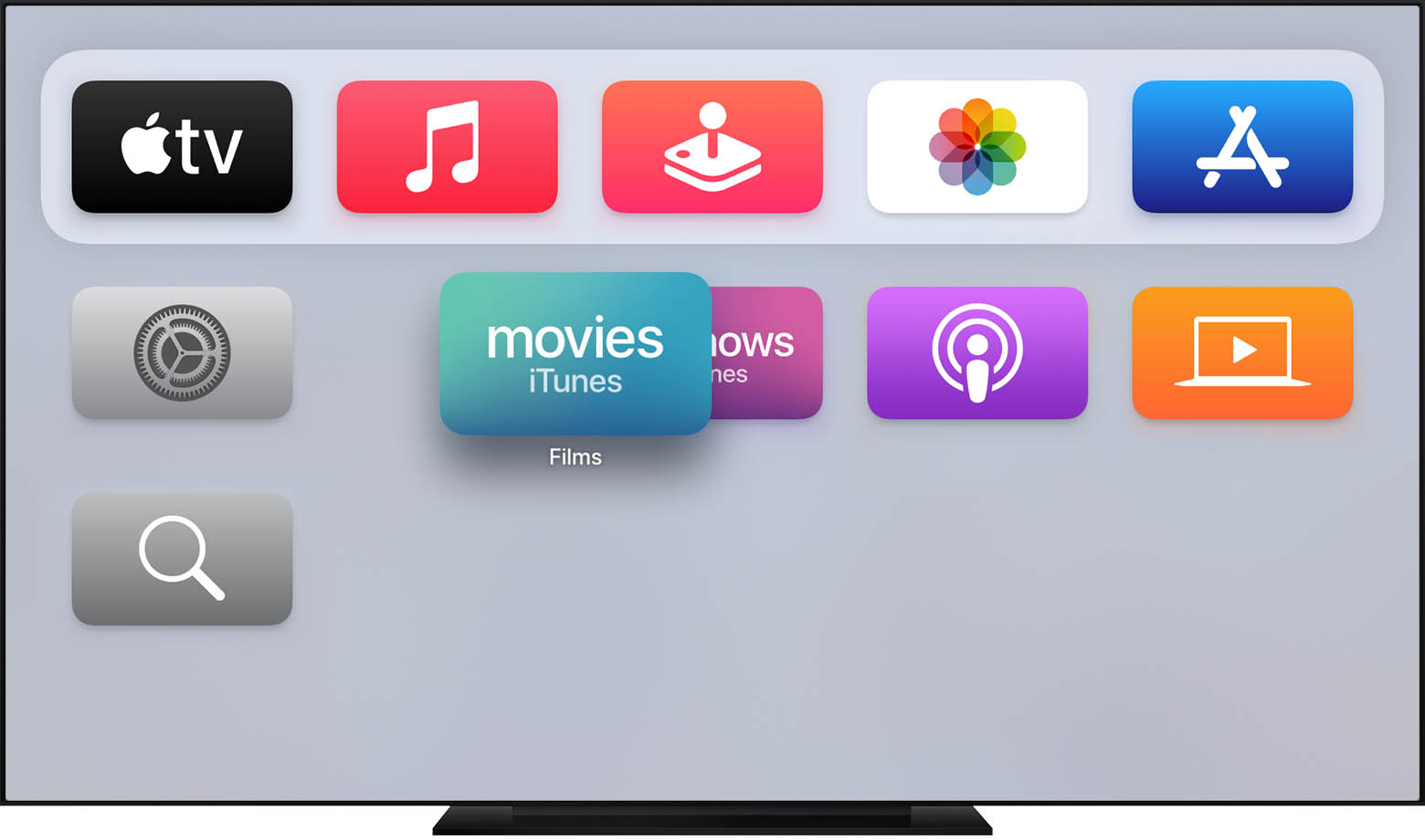 tvOS affichant une app iTunes en mouvement.