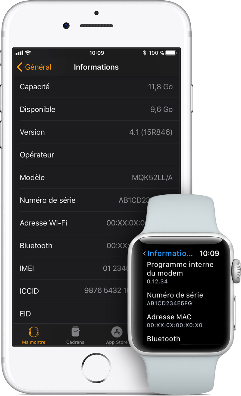 Écran Informations sur l'iPhone et l'Apple Watch