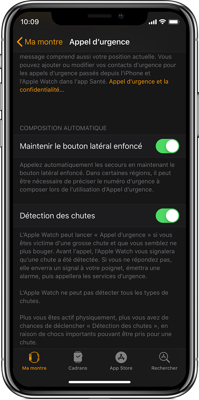 Options d'appel d'urgence sur votre iPhone