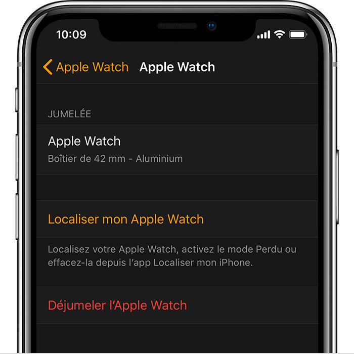 Réglages de l'Apple Watch de John dans l'app Watch.