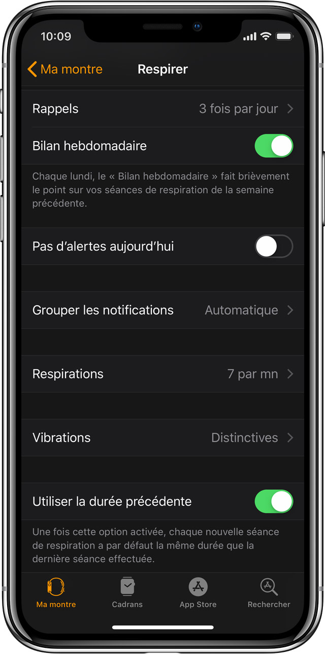 Réglages de l'app Respirer sur un iPhone, dans l'app Apple Watch.