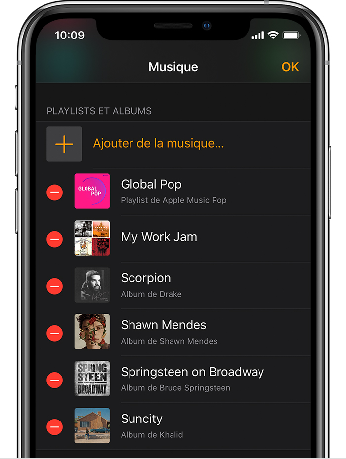 Bouton de suppression à côté des playlists et des albums de l'app Watch sur un iPhone