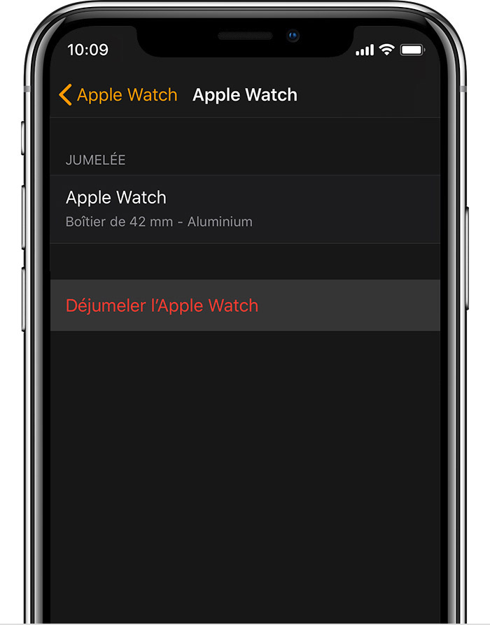 Écran Apple Watch sur l'iPhone, affichant les détails de l'Apple Watch en aluminium de John