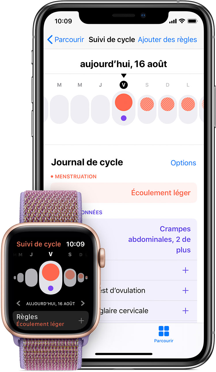 L'app Cycle Tracking sur Apple Watch et l'app Santé sur iPhone