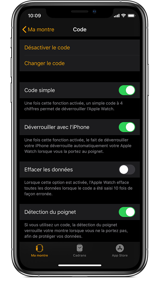 Réglages du code de l'iPhone