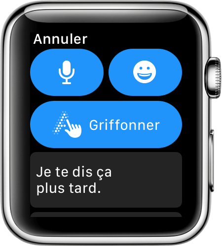 Écran de l'Apple Watch affichant les options de réponse
