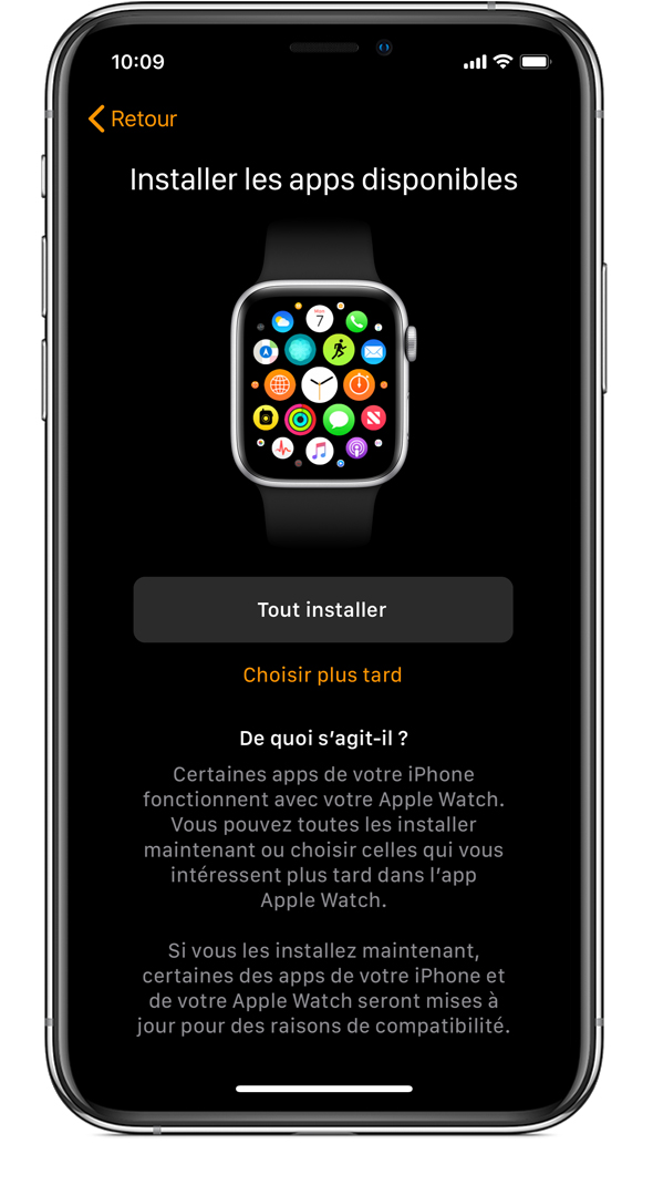 Écran Installer les apps disponibles sur un iPhone