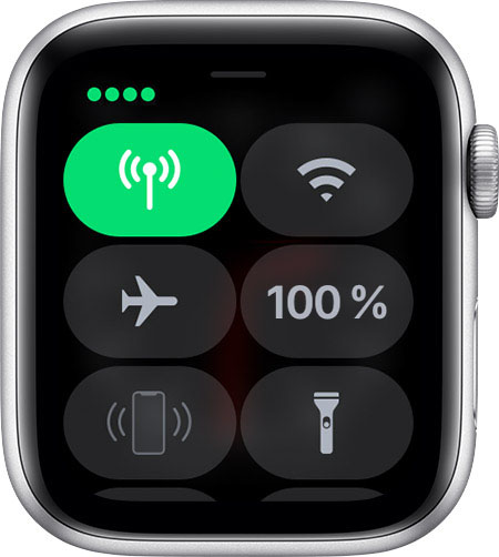 Centre de contrôle sur l'Apple Watch affichant 4 points verts