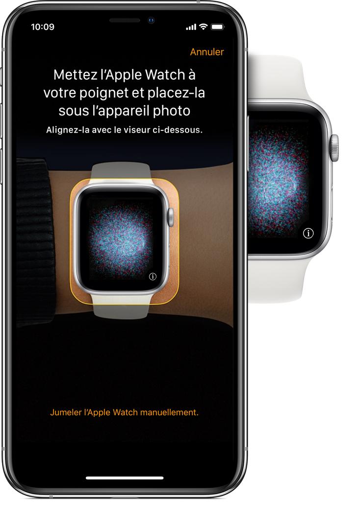 Message «Mettez l'AppleWatch à votre poignet et placez-la sous l'appareilphoto» et animation de jumelage sur l'iPhone
