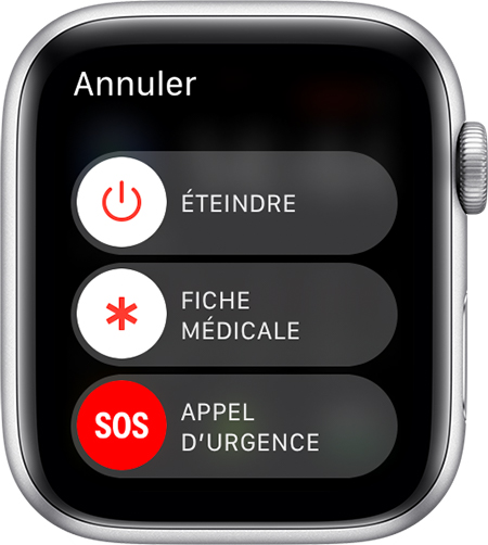 Curseur Appel d'urgence sur l'Apple Watch.