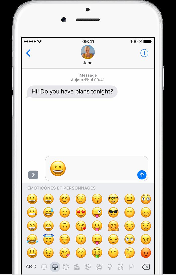utilisation de caract res emoji sur votre iphone ipad ou ipod touch assistance apple. Black Bedroom Furniture Sets. Home Design Ideas