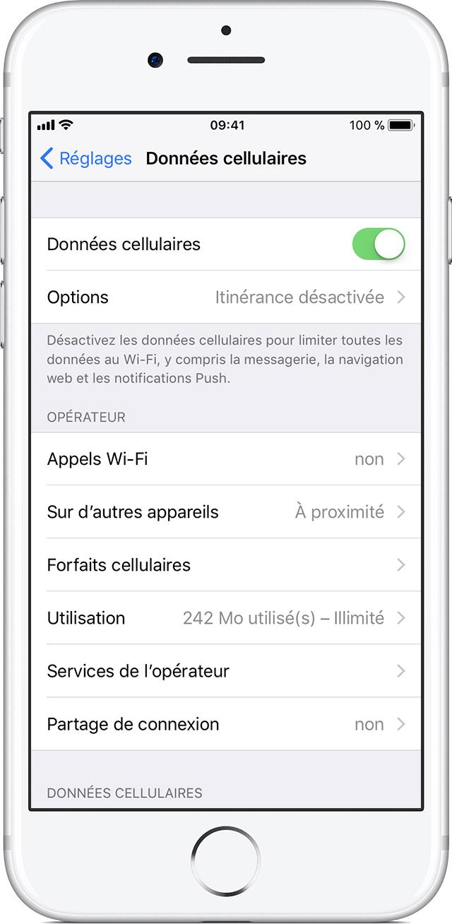 Activer ou désactiver les données mobiles