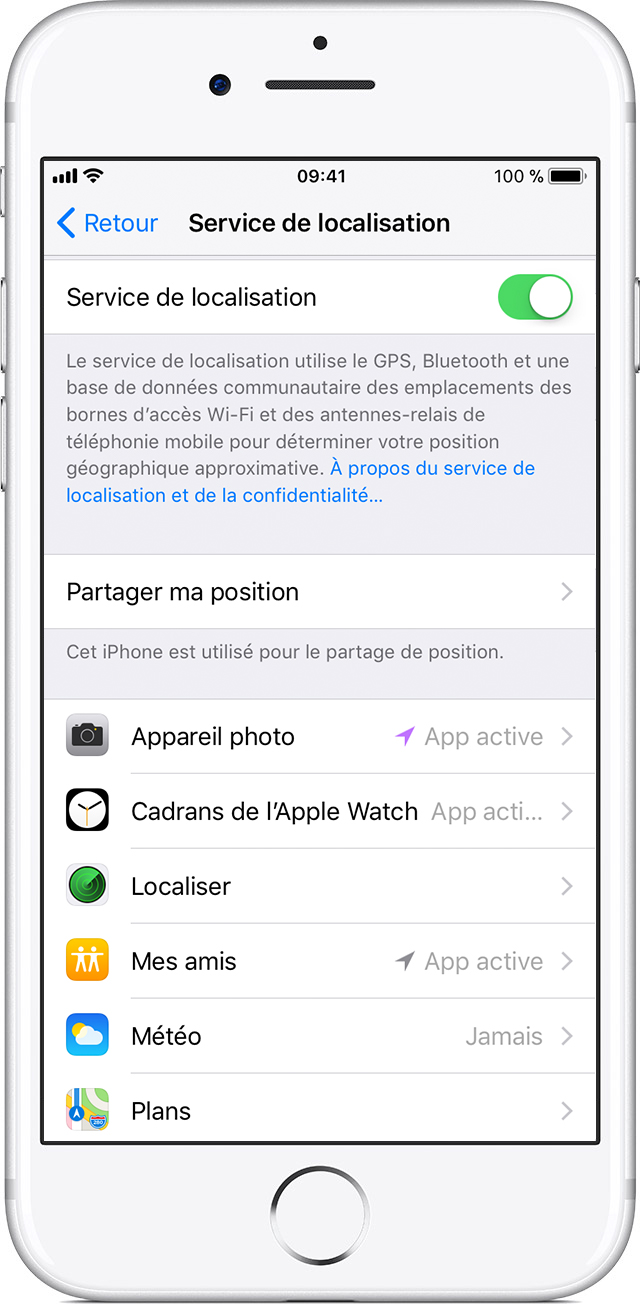 Paramétrage de l'application Mes amis