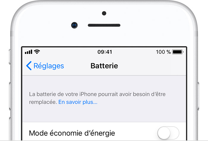Réglages de la batterie de l'iPhone