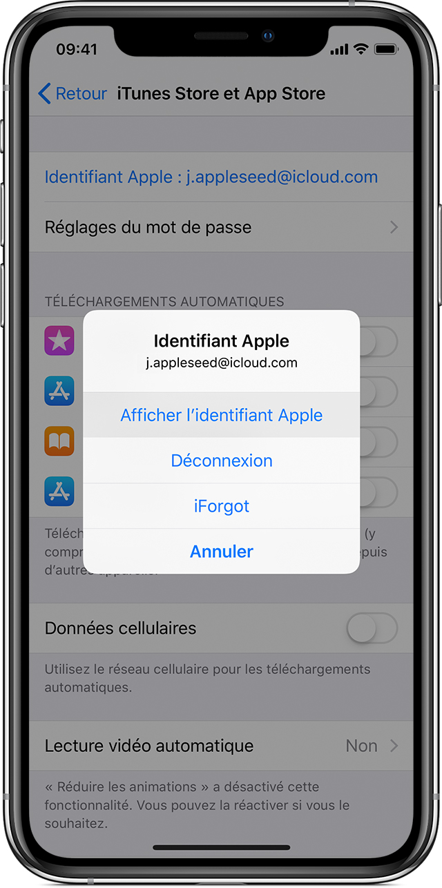 Option Afficher l'identifiant Apple du réglage App Store sur un iPhone