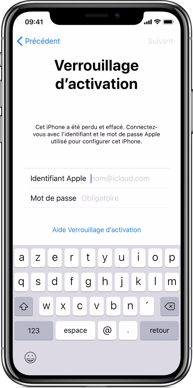 iPhone affichant l'écran Verrouillage d'activation