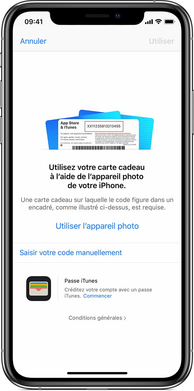 iPhoneX présentant la fonctionnalité Utiliser l'appareil photo