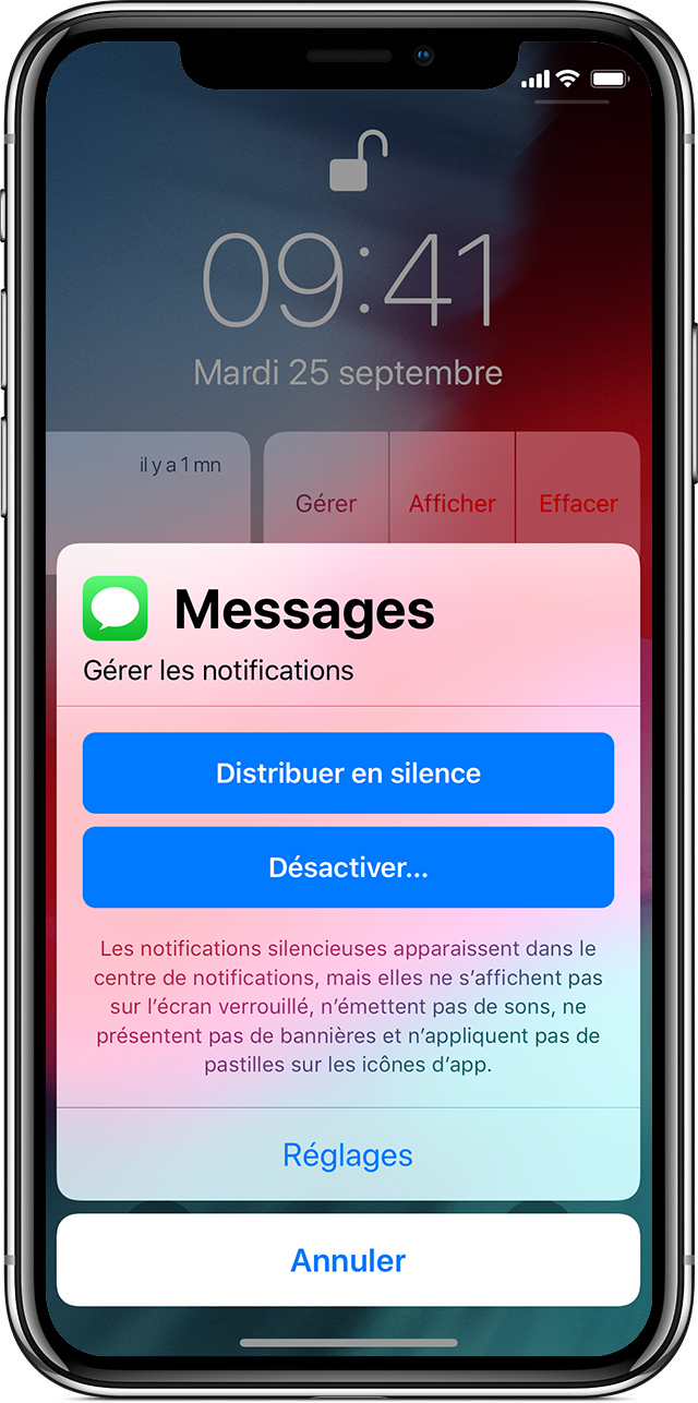 écran de gestion des notifications