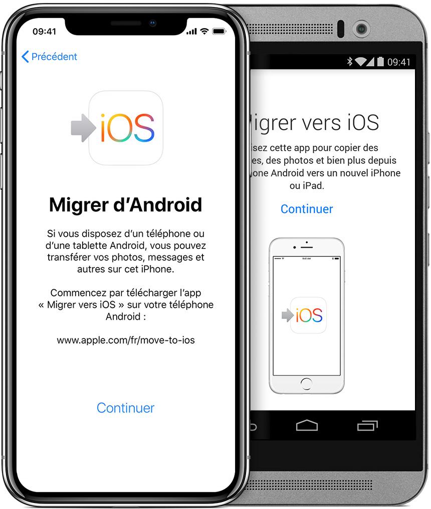 écrans illustrant l'app Migrer vers iOS sur iPhone et Android