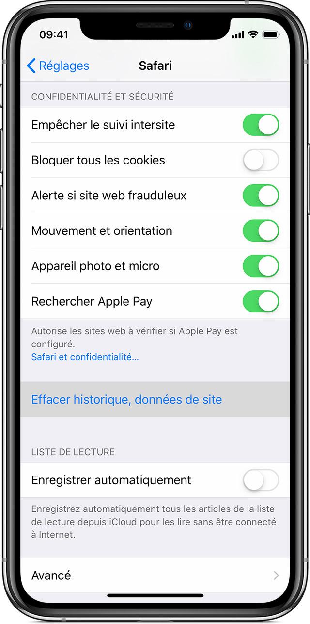 451b29e7cb Effacer l'historique et les cookies enregistrés dans Safari sur votre  iPhone, iPad ou iPod touch
