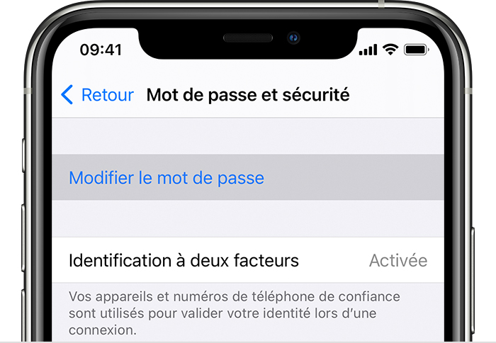 Écran de modification du mot de passe sur un iPhone