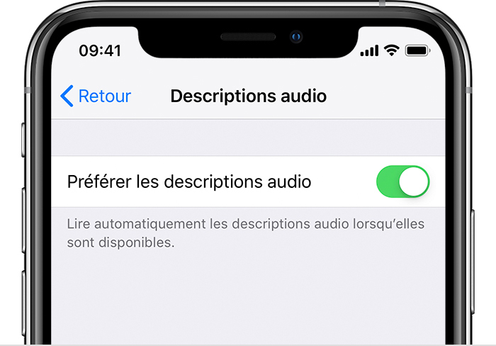 Une image rognée d'un iPhone X affichant le menu de réglages Description audio. L'option Préférer les descriptions audio est activée.