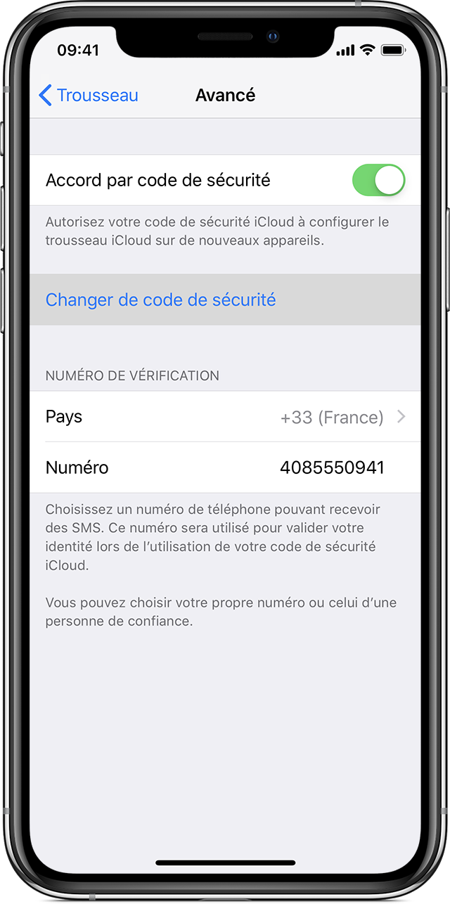 iPhone affichant l'option Accord par code de sécurité activée