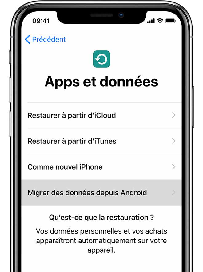 écran Apps et données sur iPhone