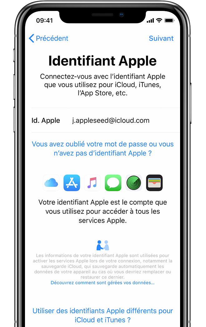 Écran de configuration de l'identifiant Apple sur iPhone