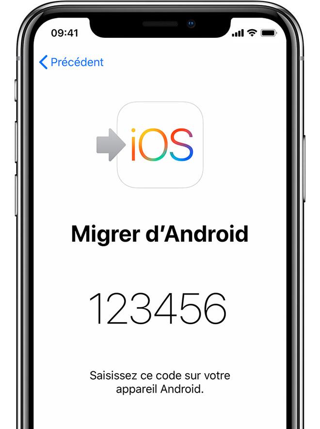 écran Migrer d'Android sur iPhone avec affichage du code