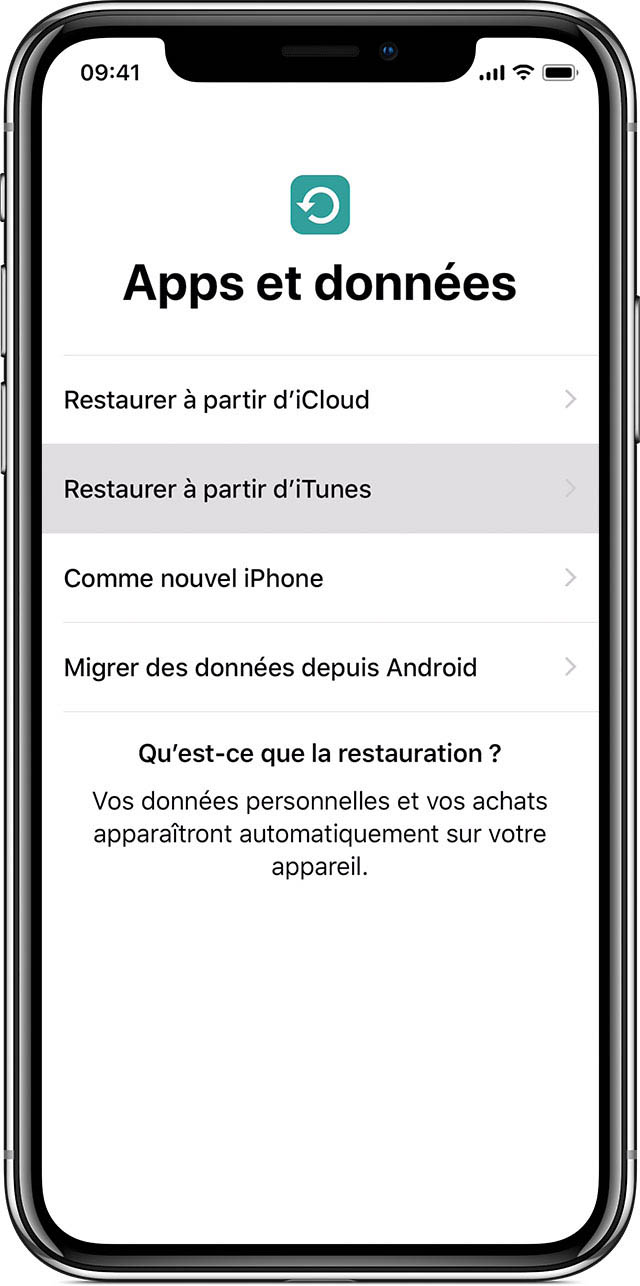 écran illustrant les options de restauration