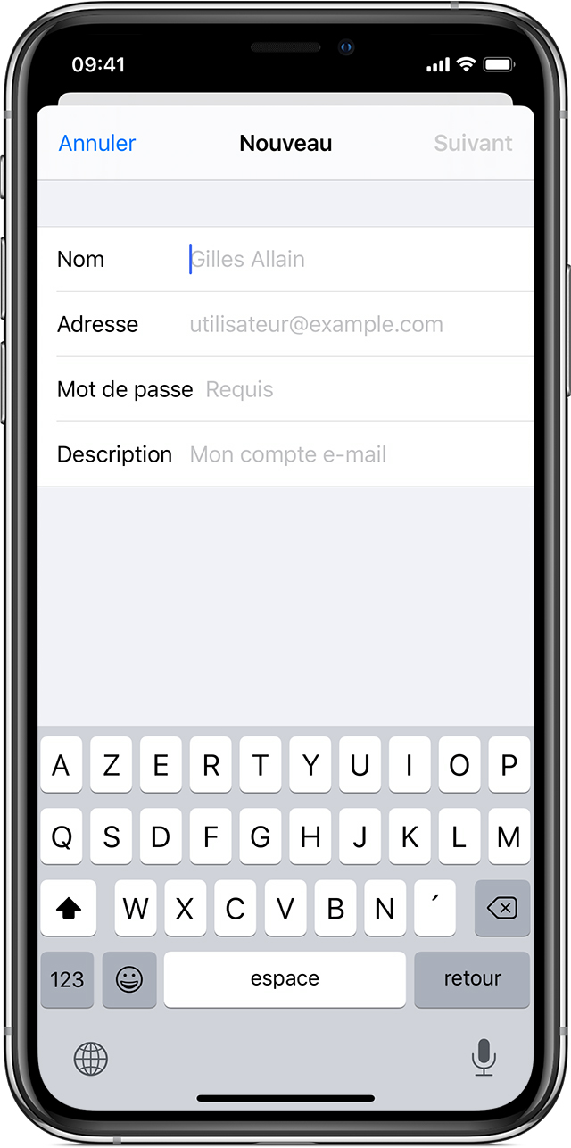 configurer compte mail free iphone 4s