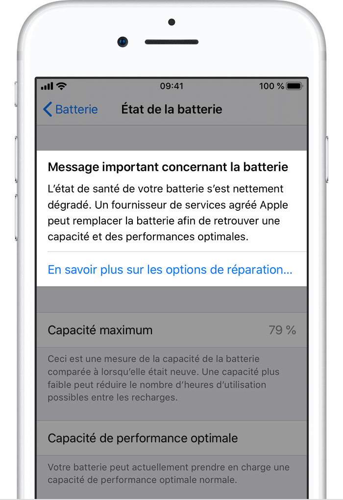Batterie et performances de l'iPhone Assistance Apple