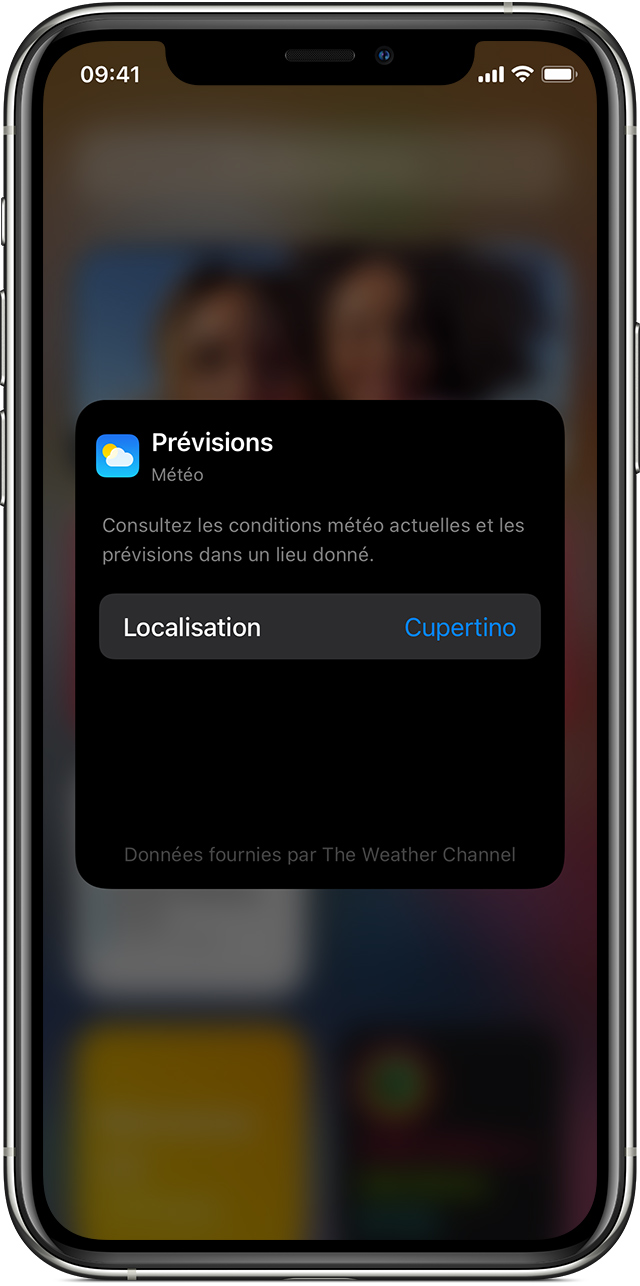 iPhone montrant comment modifier un widget