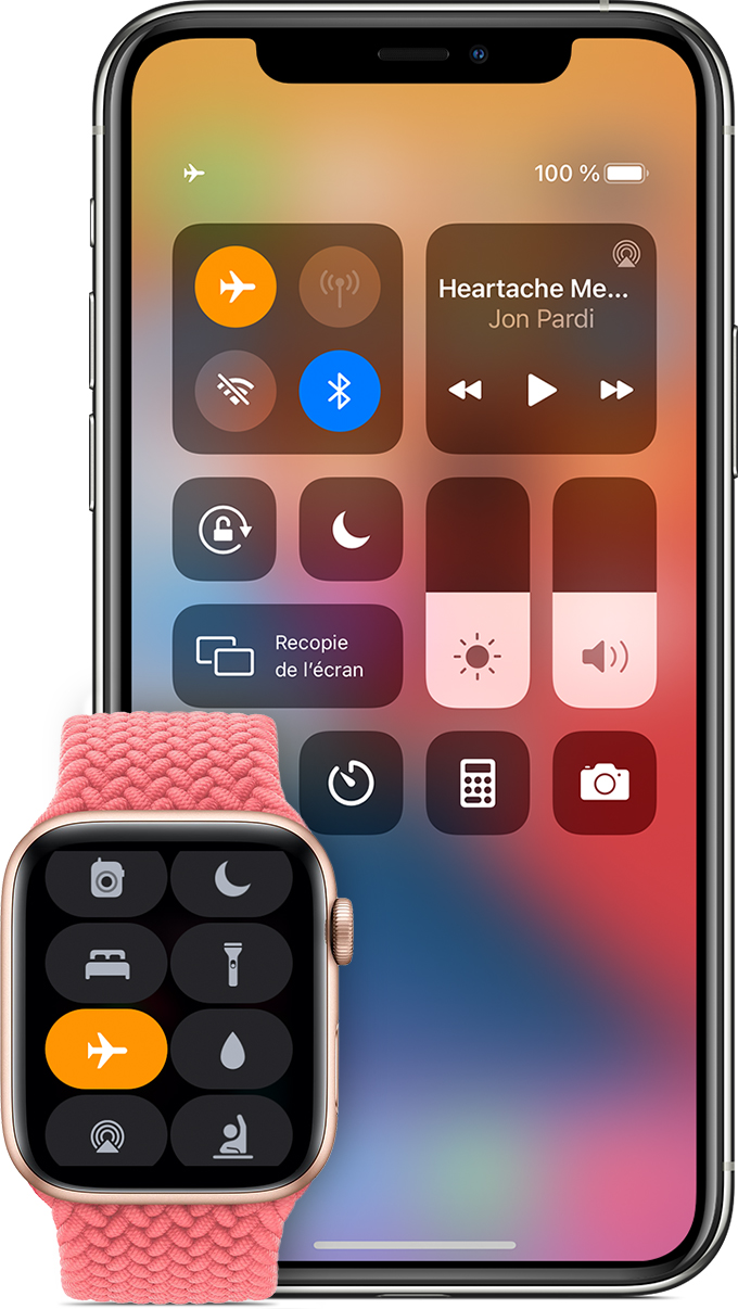 iPhone et Apple Watch affichant le mode Avion activé