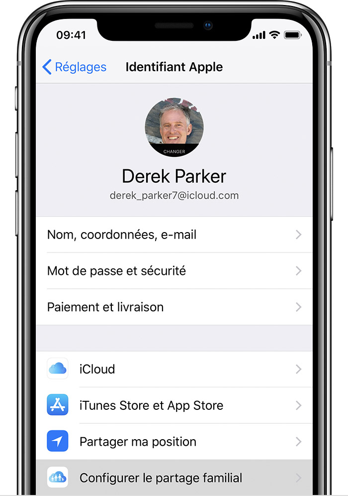 iPhone affichant l'option Configurer le partage familial