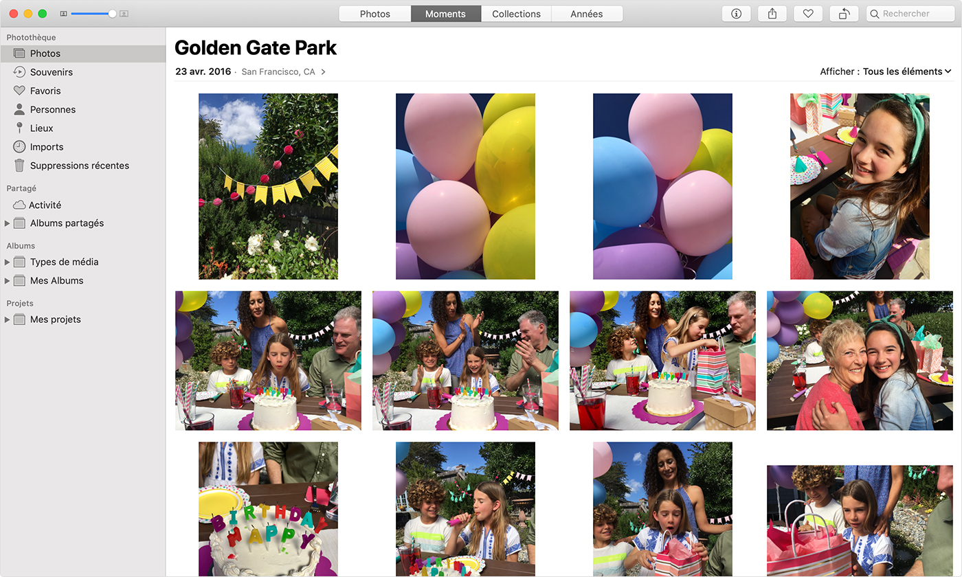 App Photos sur Mac