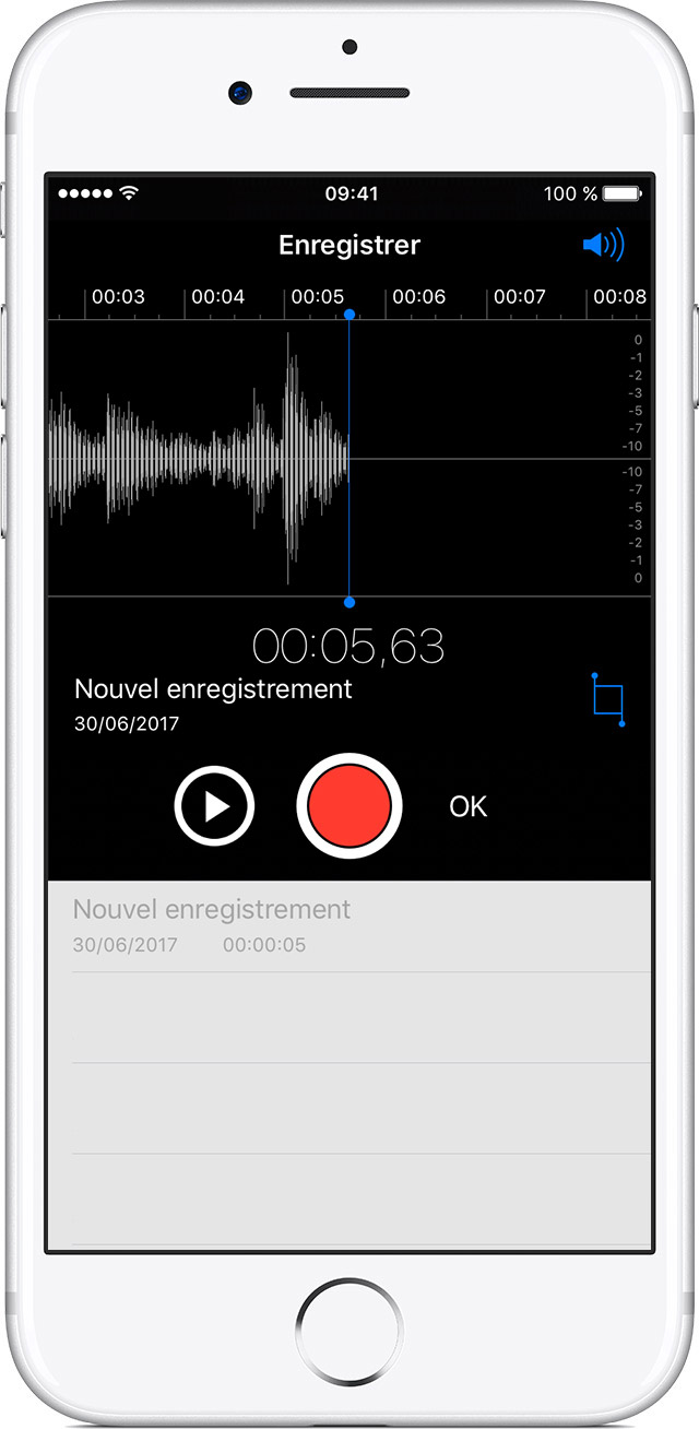 Dictaphone sur l'iPhone