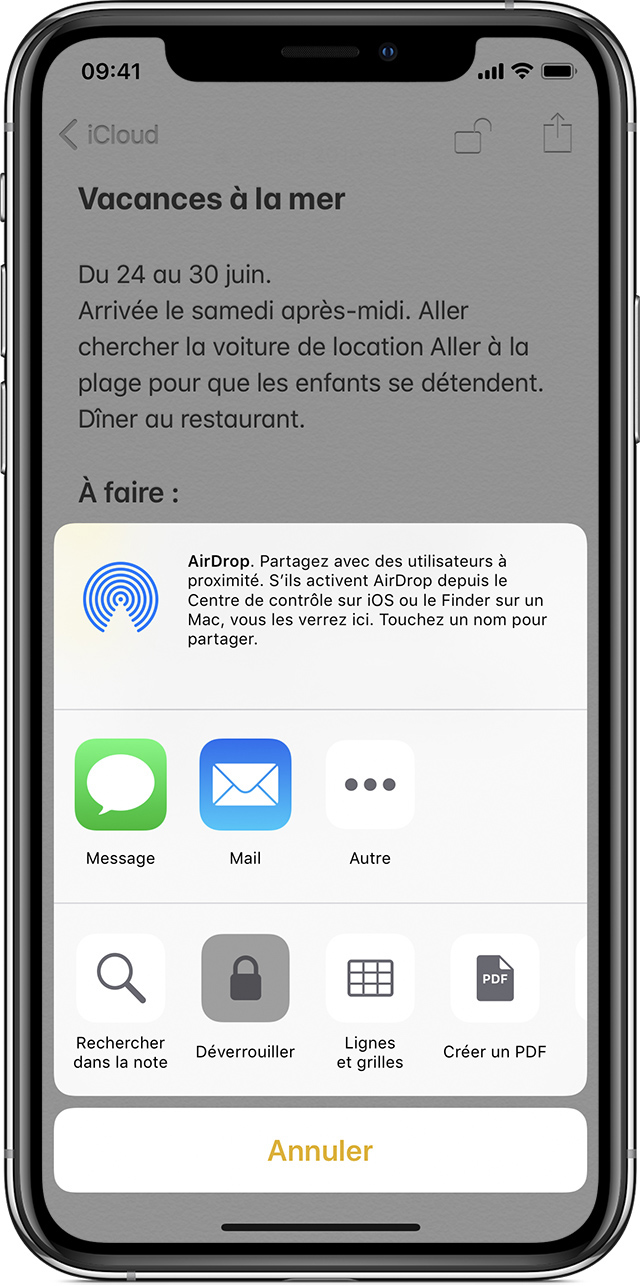iPhone affichant la note relative aux vacances à la plage, avec l'invite AirDrop