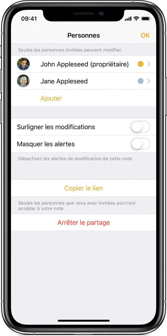 iPhone affichant l'écran Personnes
