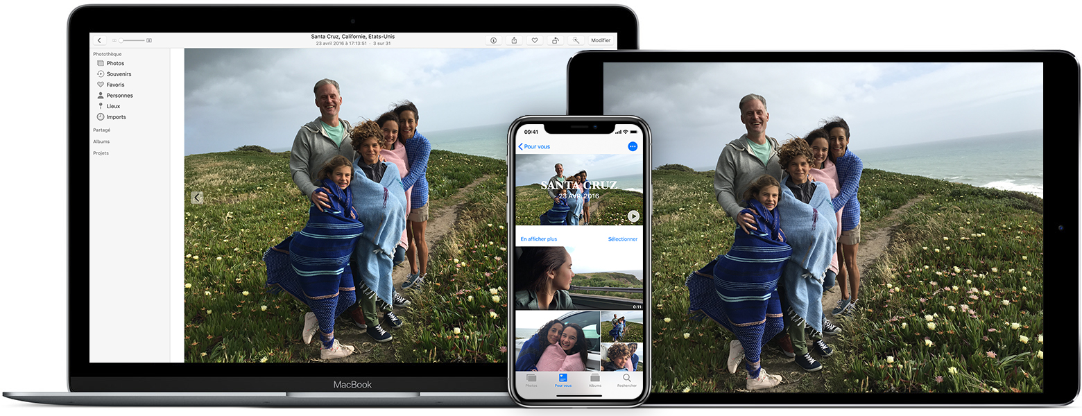 app Photos sur un Mac, un iPhone et un iPad