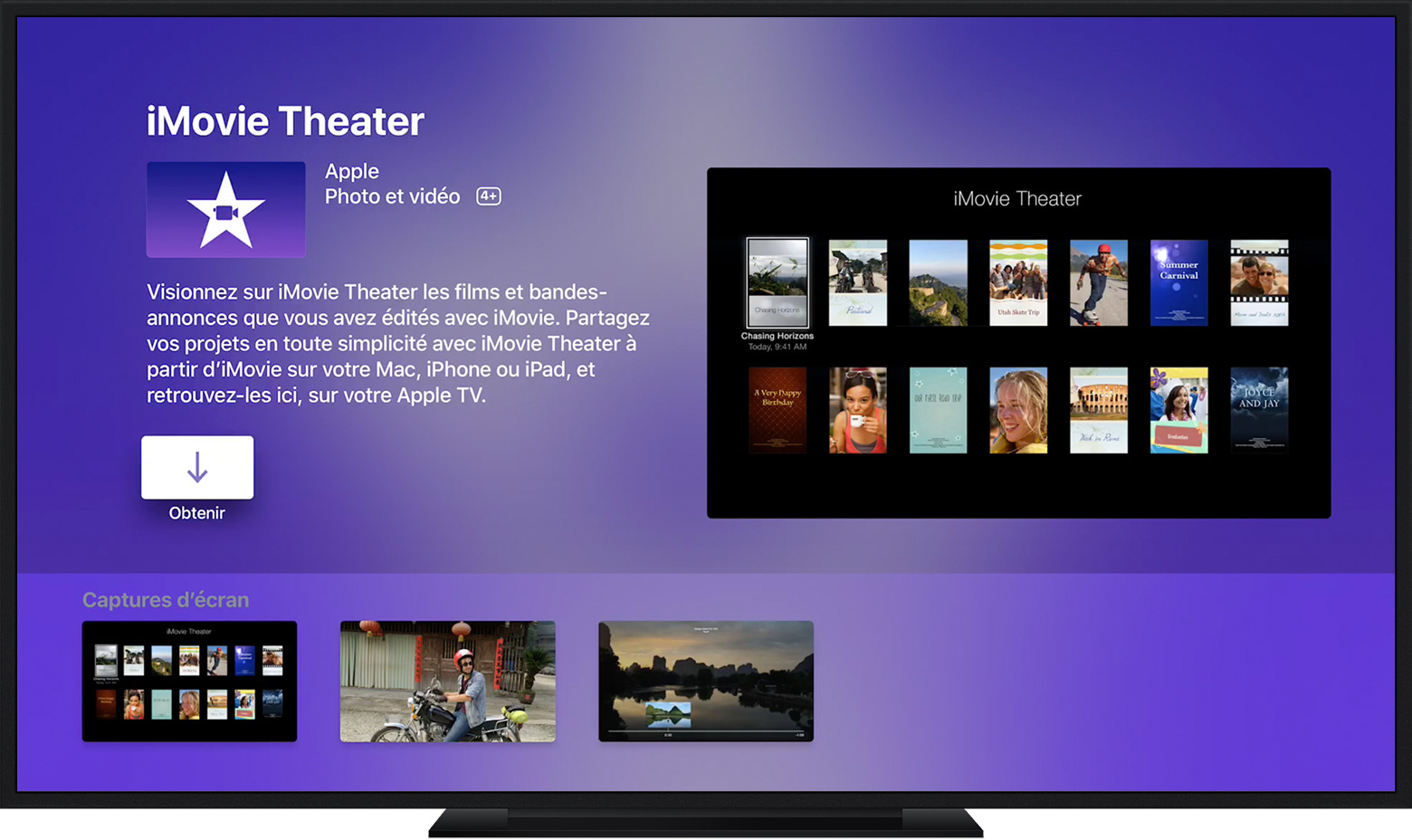 Apple TV affichant une page d'une app.